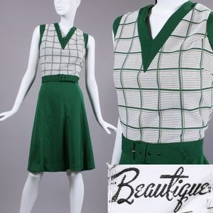 OS Vintage 1960s Green Mod Dress